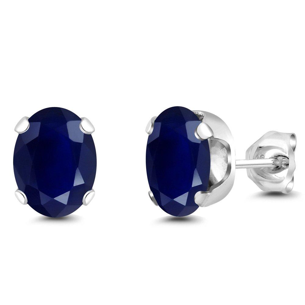 925 Sterling Silver Blue Sapphire Gemstone Birthstone Stud Women's Earrings (3.58 Cttw, 8X6MM Oval)
