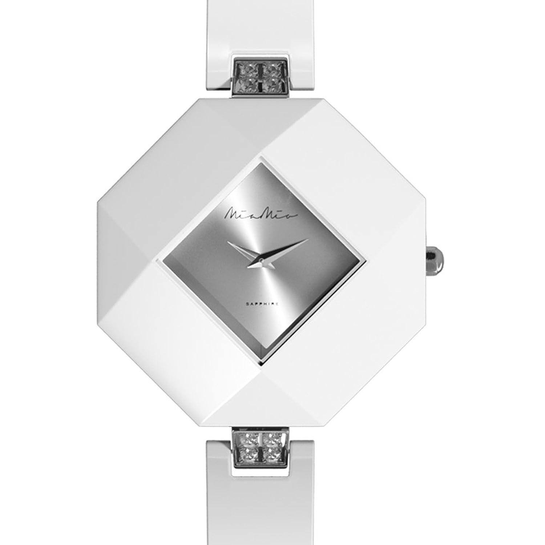 Mia-Mio Keramik Weib Swiss Quartz Silber Edelstahl Saphir Kristall PRECIOSA Damen Uhr