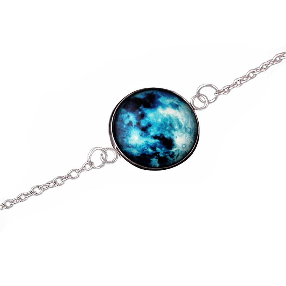 Wintefei chic Glowing Moon Fantasy Universe Glow in The Dark Glass Cabochon Bracelet Jewelry - 4#