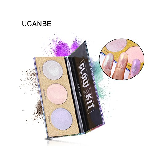 Glow Highlighter Powder Palette Kit Crystal Sugar Eyeshadow Blush Face Makeup Cosmetic Accessory Tool 3 Colors
