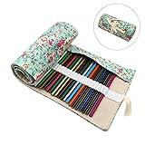72 Slots Colored Pencils Roll Wrap Bag Pouch Portable Pencils Holder Pen Organizer for Artists Students Painters (Rose Garden, 72)