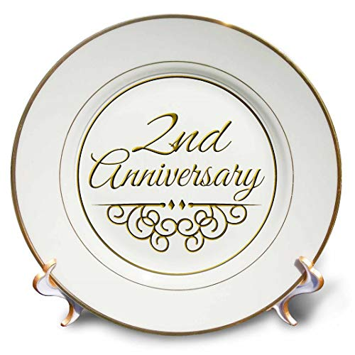 3dRose cp_154444_1 2Nd Gold Text for Celebrating Wedding Anniversaries 2 Second Two Years Together-Porcelain Plate, 8