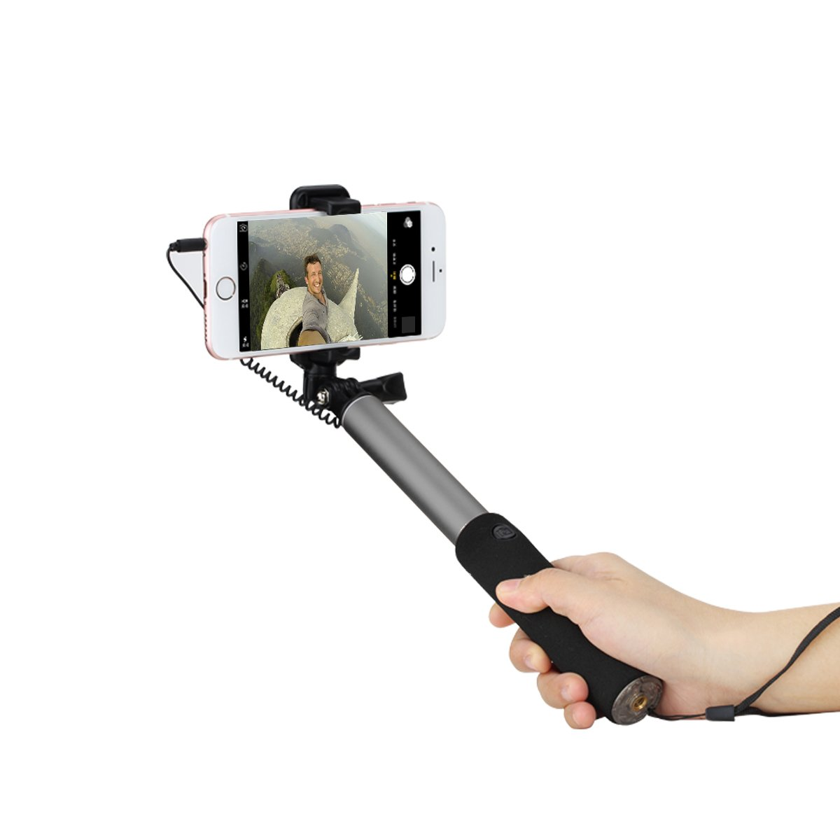 selfie stick simpiz stunner wired monopod portable adjustable extendable foldable with built in. Black Bedroom Furniture Sets. Home Design Ideas