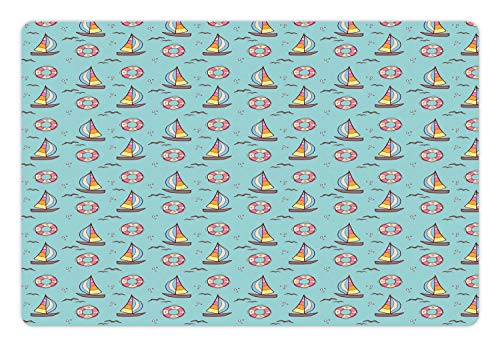 (Ambesonne Sailing Pet Mat for Food and Water, Continuous Cheery Doodle of Sailboat Seagull and Circle Life Buoy, Rectangle Non-Slip Rubber Mat for Dogs and Cats, Pale Seafoam and Multicolor )