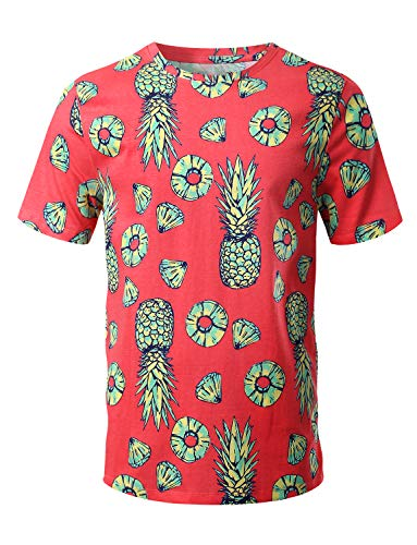 - URBANCREWS Mens Hipster Hip Hop Pineapple Pattern Print T-Shirt Coral Medium