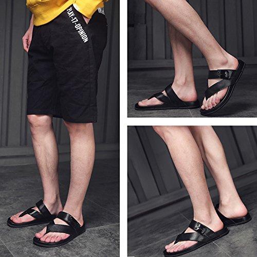 JIANXIN JIANXIN JIANXIN Flip Flops Herren Sommermode Hausschuhe Leder Mode Sandalen Flip Flops Hausschuhe (Farbe   A, größe   EU 41 US 11 UK 9) a8cd9a