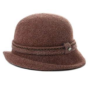 Cloche Round Hat for Women 1920s Fedora Bucket Vintage Hat Flower Accent