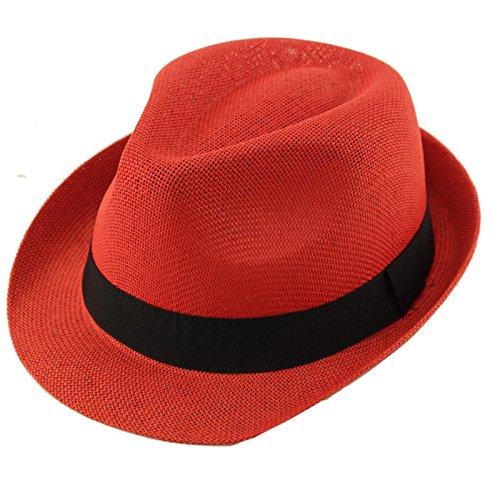 Epoch Unisex Basic Cool Lightweight Summer Derby Fedora Trilby Adjustable Hat Red -