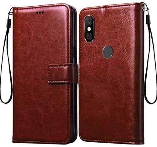 Explocart Premium Flip Cover Case Vintage Executive Business for Xiaomi Mi Redmi Note 6 Pro   Brown