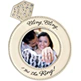 "Diamond Ring Shaped Frame - ""Bling Bling, I Got the Ring"" - Ceramic and Crystals Holds 4x4 Photo"