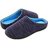 RockDove Men's Birdseye Knit Memory Foam Slipper, Large, US 11-12 M, Denim/Blue