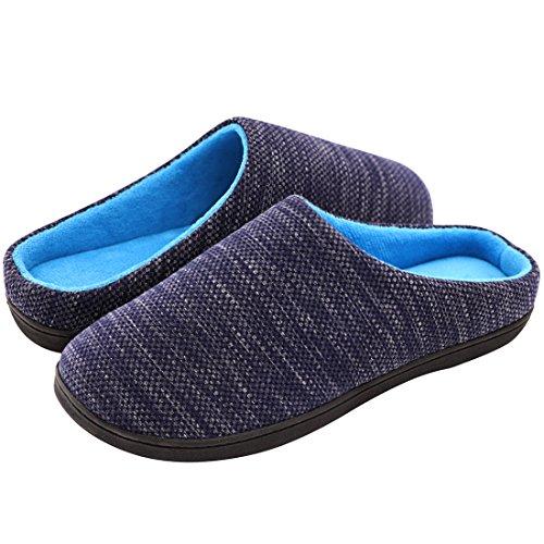 RockDove Men's Birdseye Knit Memory Foam Slipper, Size 11-12 US Men, Denim/Blue