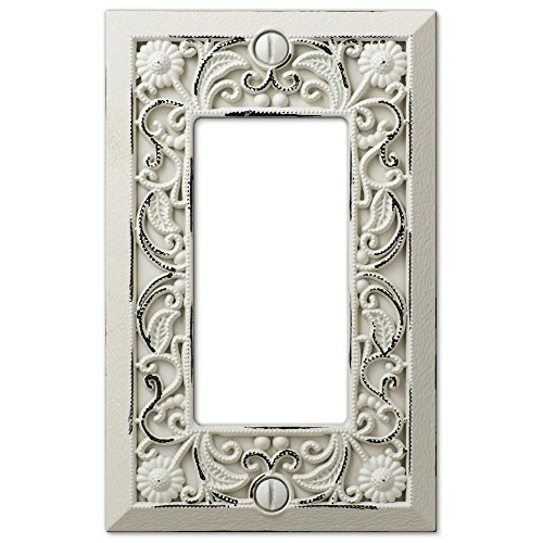 Filigree Antique White Cast 1 Rocker Wallplate by Amerelle