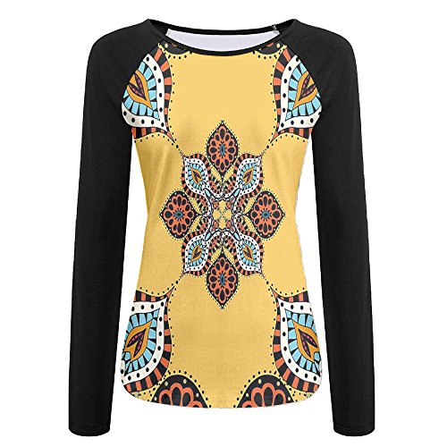 n Paisley Fabric Flower Pattern Women's Stretchy Long Sleeve Raglan Tshirt S (Kitchenaid White Coffee Maker)