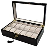 Sodynee Elegant Color 12-Compartment Wood Display Case Box with Lock and Key, Ebony