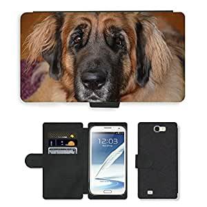 Hot Style Cell Phone Card Slot PU Leather Wallet Case // M00112419 Dog Leonberger Beautiful Race // Samsung Galaxy Note 2 II N7100