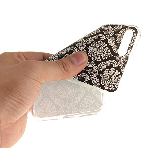 XiaoXiMi Funda iPhone 7 Carcasa de Silicona Caucho Gel para iPhone 7 Soft TPU Silicone Case Cover Funda Protectora Carcasa Blanda Caso Suave Flexible Caja Delgado Ligero Casco Anti Rasguños Anti Choqu Damasco Blanco