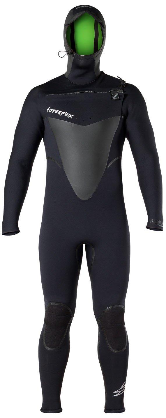 Hyperflex Wetsuits Men's Voodoo 6/5/4mm Hooded Front Zip Fullsuit, Black, 3X-Large by Hyperflex