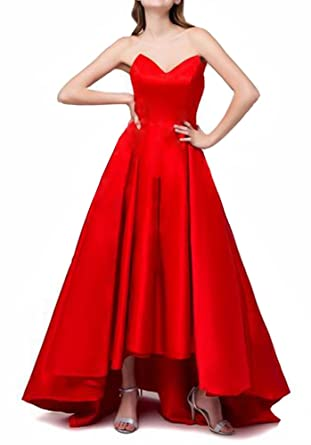 Maricopyjam Womens Strapless V-neck Pleated Puffy Hi-lo Long Prom Dress for Homecoming with Corset at Amazon Womens Clothing store:
