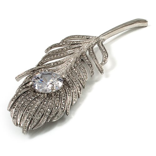 11.5cm L Large Diamante Peacock Feather Silver Tone Brooch Clear /& Black