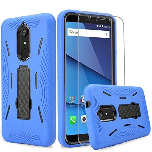 BLU Vivo XL3 Plus case + Screen Protector, (V0210WW) 6 inch case,Heavy Duty Rugged Hard Cover Hybrid Kickstand Case w. Clear Screen Protector Film for BLU Vivo XL3 Plus case (HVD Blue/Black)
