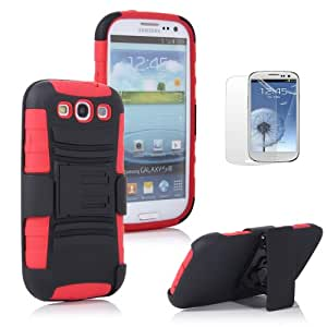 ATC Black+Red Extreme Rugged Impact Armor Hybrid Hard Case Cover Belt Clip Holster Samsung Galaxy S III 3 S3