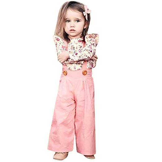 6cd4cfee39f Littleice Toddler Baby Girls Long Sleeve Floral Tops Solid Overalls Pants  2PC Outfits Clothes (3T