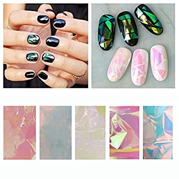 Amazon new 5 colors holographic shiny laser nail art foils new 5 colors holographic shiny laser nail art foils paper candy colors glitter glass nail sticker prinsesfo Choice Image