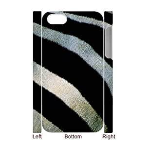 3D Case For iPhone 4/4s, zebra fur closeup Case For iPhone 4/4s, White