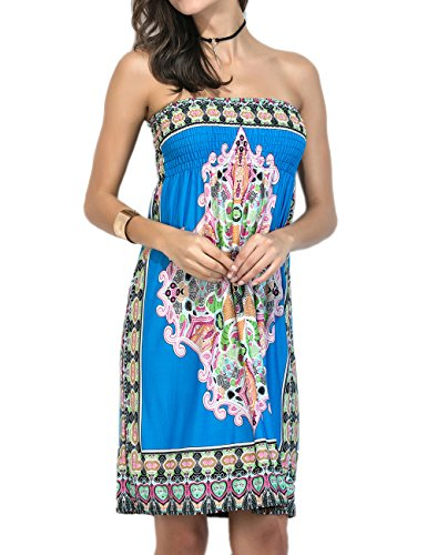 Sexyshine Womens Summer Strapless Floral Print Bohemian Vintage Tube Wrapped Chest Casual Mini Dress Beachwear Cover up(SB,3XL) Sapphire Blue ()