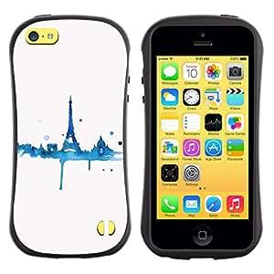 LASTONE PHONE CASE / Suave Silicona Caso Carcasa de Caucho Funda para Apple Iphone 5C / Blue White Tower Eifel Minimalist