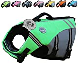#9: Vivaglory New Sports Style Ripstop Dog Life Jacket with Superior Buoyancy & Rescue Handle, Bright Green, M