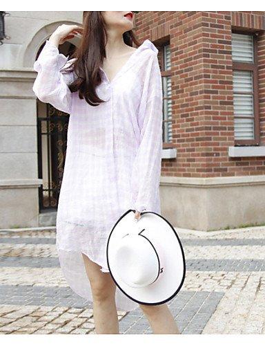 YFLTZ Camicia da lavoro da donna - collo camicia a righe, nero, taglia unica White