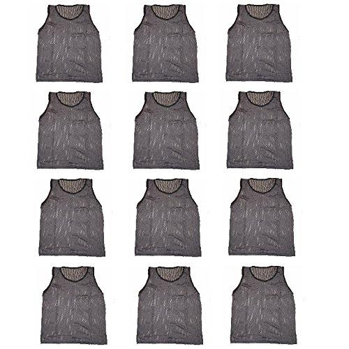 Workoutz Soccer Pinnies Set (1 Dozen) Premium Scrimmage Vests Mesh Team Training Practice Shirts (Dark Gray, Youth)