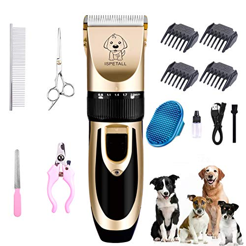 ISPETALL Dog Grooming Clippers kit Low Noise Pet Clippers Shaver Tools USB Rechargeable Cordless Professional Dog Trimmer Dog Hair Trimmer with Comb Guides Scissors Nail Kits for Dogs Cats & Other