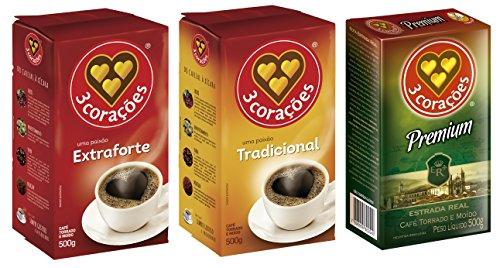 3 Coracoes Brazilian Coffee Variety Pack, ground bags 500 grams each