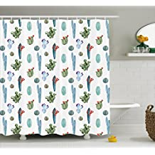 Cactus Decor Shower Curtain by Ambesonne, Watercolor Cactus Plant Image Desert Hot Mexican Souh Nature Floral Print, Fabric Bathroom Decor Set with Hooks, 70 Inches, Blue and Green