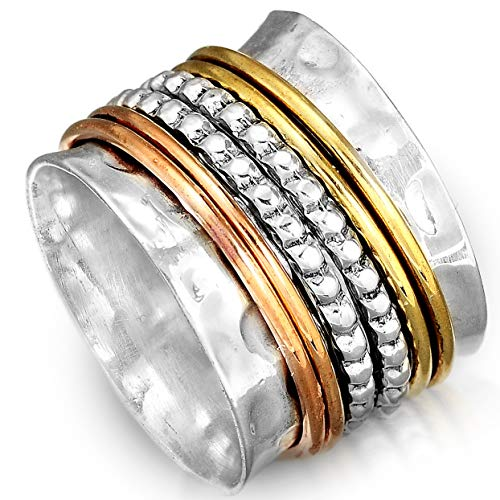 - Boho-Magic 925 Sterling Silver Spinner Ring with Brass Spinning Rings for Women | Fidget Meditation Anxiety Wide Band | Statement Chunky Jewelry Size 5.5-9.5 (11)