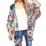 F_topbu Women's Sheel Kimono Cardigan 3/4 Sleeve Chiffon Blouse Loose Tops Kimono Floral Print Cardigan