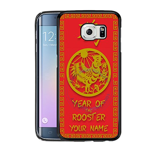 BleuReign(TM) Personalized Custom Name Chinese Zodiac Year of The Rooster TPU Rubber Silicone Phone Case Back Cover for Samsung Galaxy S7 ()