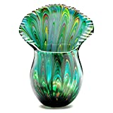 Handmade Glass Peacock Tail Vase - 10'' Tall - FREE Shipping to the lower 48 on orders over $35!
