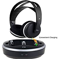 Wireless Universal TV Headphones, Monodeal Over-Ear Stereo RF Headphones With Charging Dock, NO AUDIO LATENCY Volume Adjustable For Gaming TV PC PHONE, 25h Battery Sound - 2 Year Warranty