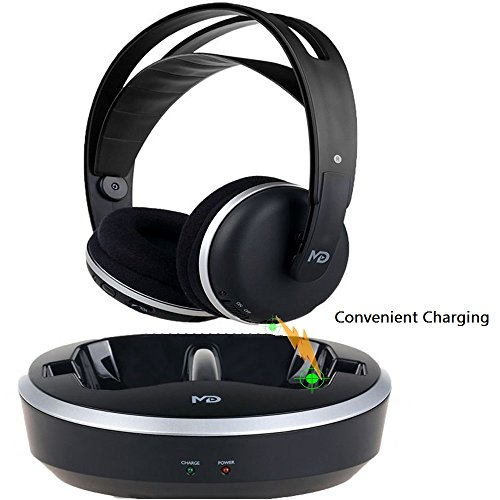 Wireless Universal TV Headphones, Monodeal Over-Ear Stereo RF Headphones With Charging, LOW LATENCY Volume Adjustable For Gaming TV PC MOBILE, 25hr Battery Sound -1 Year Warranty