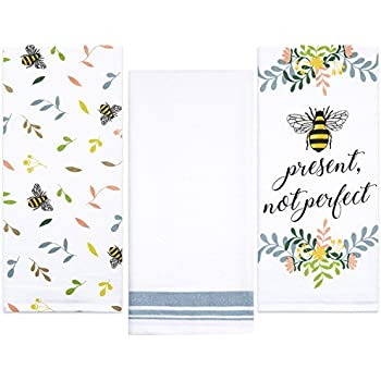 Sticky Toffee Cotton Flour Sack Kitchen Towels, Bee Prints, 3 Pack, 28 in x 29 in