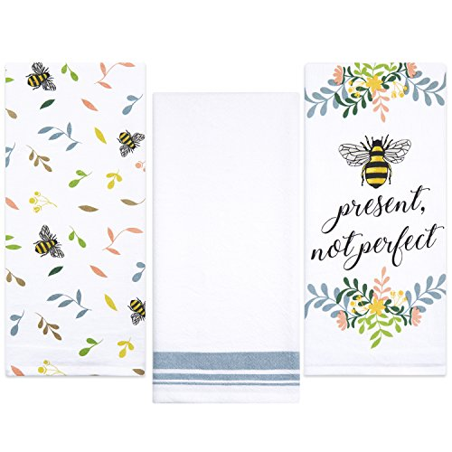 Sticky Toffee Cotton Flour Sack Kitchen Towels, Bee Prints, 3 Pack, 28 in x 29 in by Sticky Toffee