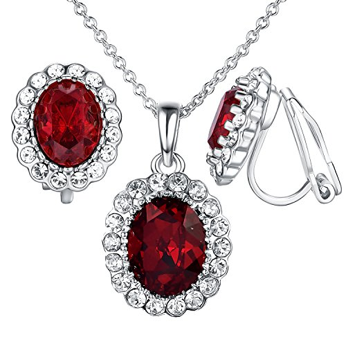 Yoursfs Burgundy Jewelry Set Red Crystal Clip on Earrings&Pendant Necklace Fashion Jewelry