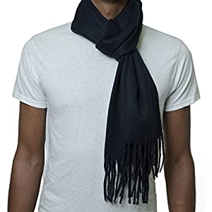 Alpine Swiss Mens Plaid Scarf Soft Winter Scarves Unisex,Solid Navy,One Size