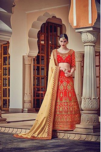 Da Facioun Womens Red Striking Lehenga Choli With Embroidery Work 79625