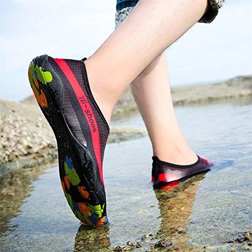 Malloom Unisex Strandschuhe Badeschuhe Aquaschuhe Wasser Schuhe Breathable Schlüpfen Schnell Trocknend Schwimmschuhe Surfschuhe für Damen Herren Kinder Baby Schwarz