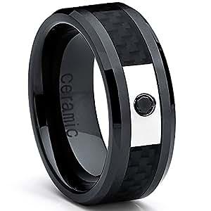 Ultimate Metals® Anillo Cerámica Negra Para Hombre, Banda Incrustada Con Fibra de Carbono y Diamante Negra 0.05 Quilates
